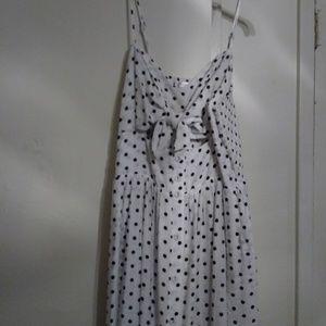 Black and white poka dot suun dress